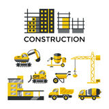 Construction transport buildings icons for composition and banner Stock Photography