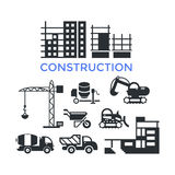 Construction transport buildings icons for composition and banner Stock Photos