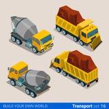 Construction transport heavy trucks. Concrete mixe Stock Image
