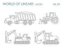Construction transport line art vector: excavator tractor grader Stock Images