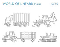 Construction transport line art vector: excavator tractor grader Royalty Free Stock Image
