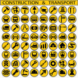 Construction and transport. On a white background in circles Royalty Free Stock Photography
