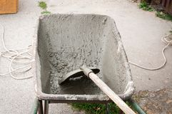 Construction trolley with shovel and cement. Royalty Free Stock Photos