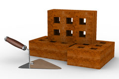 Construction trowel and bricks on white. 3D image Stock Photo