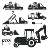 Construction trucks and tractor icons or signs set Royalty Free Stock Images