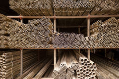 Construction tubes. Stack of tubes used for construction Royalty Free Stock Photos