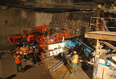 Construction of the tunnel, drilling rig for jet grouting Royalty Free Stock Image