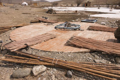Construction Turkic yurts Royalty Free Stock Photography