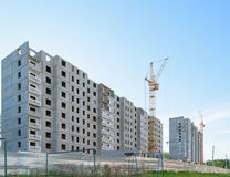 Construction of two apartment houses in new residential microdistrict Stock Photos