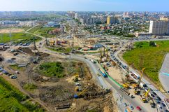 Construction of two-level outcome. Tyumen. Russia Royalty Free Stock Image