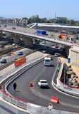 Construction of a two-tier road interchange Royalty Free Stock Photos