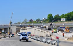 Construction of a two-tier road interchange Stock Photo