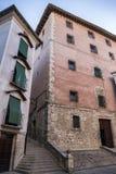 Construction typique de maisons dans la vieille ville de la ville de Cuenc Photo libre de droits