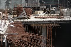 Construction of underground floors of a multi-storey building in the city stock images