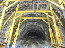 Construction of an underground tunnel. Building under the ground stock photo