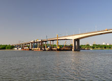 Construction understudy of the Voroshilovskii bridge. Rostov-on- Royalty Free Stock Image