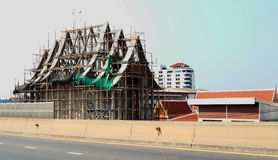 Construction is underway at Thai temple Royalty Free Stock Photography