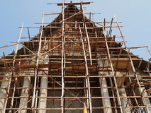Construction is underway at Thai temple Stock Image