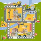 Construction vector flat colorful illustration with city. Building poster in modern style. stock photography