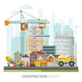 Construction vector flat colorful illustration with crane and houses. Building poster in modern style. Royalty Free Stock Photography