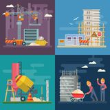 Construction vector flat colorful set of illustration with colorful building tools. Building poster in modern style. royalty free stock images