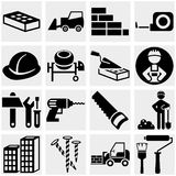 Construction vector icon set on gray Royalty Free Stock Photos