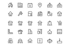Construction Vector Line  Icons  3 Royalty Free Stock Images