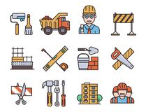 Construction vector linear icons universal building elements and worker equipment flat industry tools illustration. Build concrete industrial architecture vector illustration
