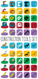 Construction vector tools set in different style: outline, black and white silhouette, colorfull and isometric. Royalty Free Stock Photo