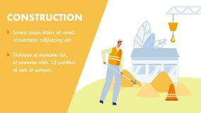 Construction Vector Web Banner with Text Space stock illustration