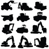 Construction vehicle black art silhouette Royalty Free Stock Photo