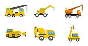 Construction vehicle icon set, flat style. Construction vehicle icon set. Flat set of construction vehicle vector icons for web design isolated on white Stock Images