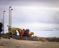 Construction Vehicles at the Beach royalty free stock image