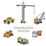 Construction vehicles cartoon vector illustration. Construction vehicles set. Cartoon vector color illustration Royalty Free Stock Image