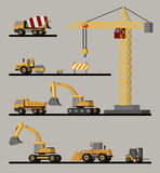 Construction Vehicles Collection. With crane asphalt paver excavators bulldozer wheelbarrow forklift concrete mixer and heavy trucks  vector illustration Stock Photos