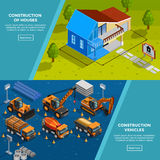 Construction Vehicles Isometric Banners. Two construction isometric banners with layout of country house vehicles for road works trucks and tippers flat vector Stock Images