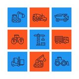 Construction vehicles line icons set. Heavy machines, digger, truck, excavator, loader vector signs Stock Photo