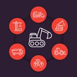 Construction vehicles line icons set. Heavy machines, digger, excavator, concrete mixer truck Royalty Free Stock Photos