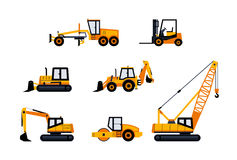 Construction Vehicles - modern vector icon set vector illustration