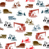 Construction vehicles pattern. Construction vehicles seamless pattern in color over white background Stock Photo