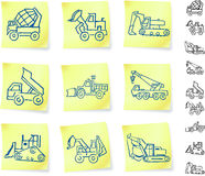 Construction Vehicles on Post It notes Royalty Free Stock Photography