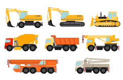 Construction vehicles set. Flat style construction vehicles set Stock Images