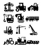 Construction vehicles. Set of construction related vehicle icon set Stock Photo
