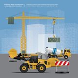 Construction Vehicles on Site. Vector Illustration Royalty Free Stock Photography