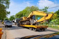 Construction vehicles. In thailand, Motor grader Royalty Free Stock Photo