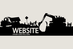 Construction vehicles and workers Royalty Free Stock Photography