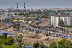 Construction of viaduct junctions, top view. Stock Photo
