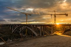 Construction of a viaduct over the Eresma River in the works to extend the works of the Madrid - Segovia - Valladolid highway stock image