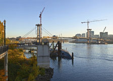 Construction view of a new bridge Portland OR. Stock Images