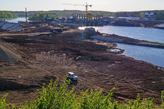 Construction of Vitebsk hydroelectric power station. Stock Images